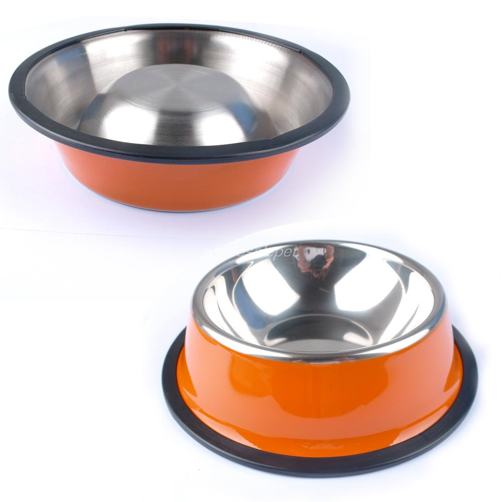 colorful stainless steel dog feeding bowl cat puppy food dish pet