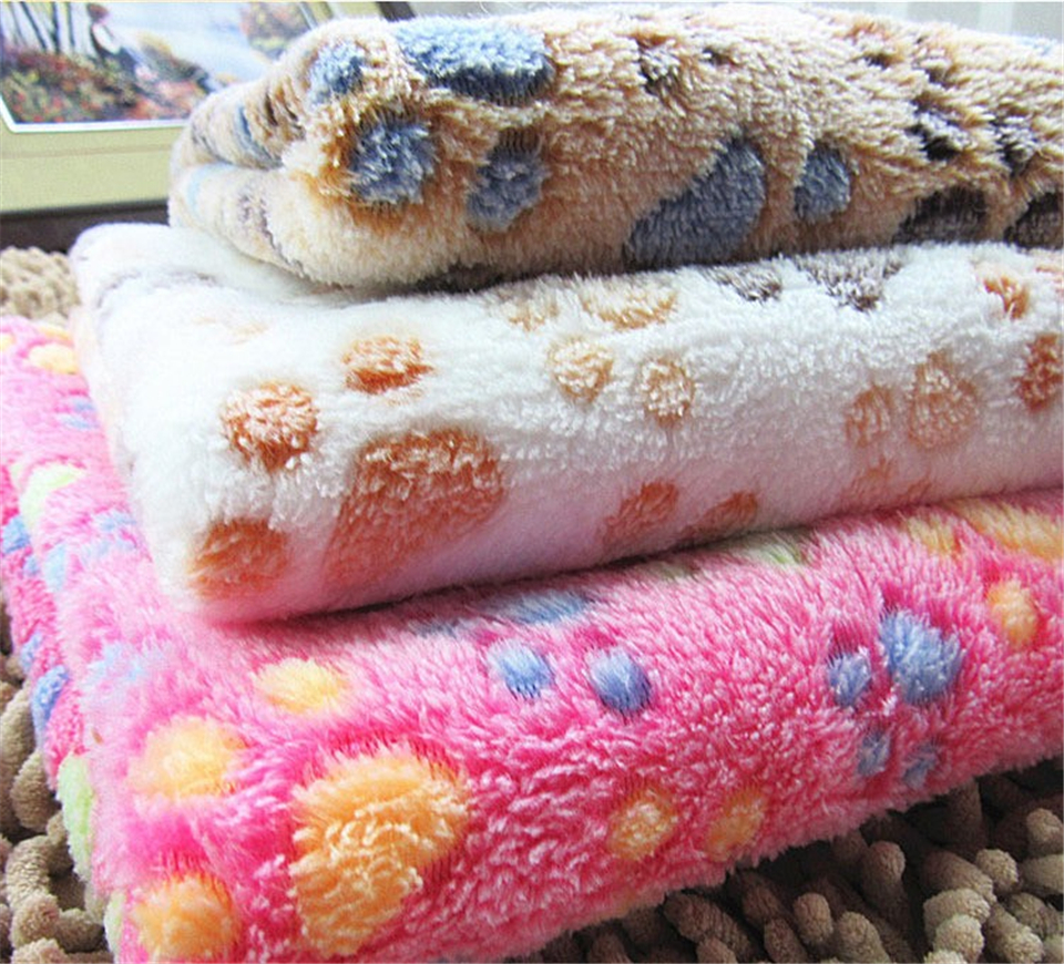 Cute Footprint Pet Dog Cat Blankets Fall And Winter Warm Velvet Towels For  Dogs Creamy Coffee Rose